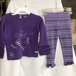 Dragonfly top and striped leggings